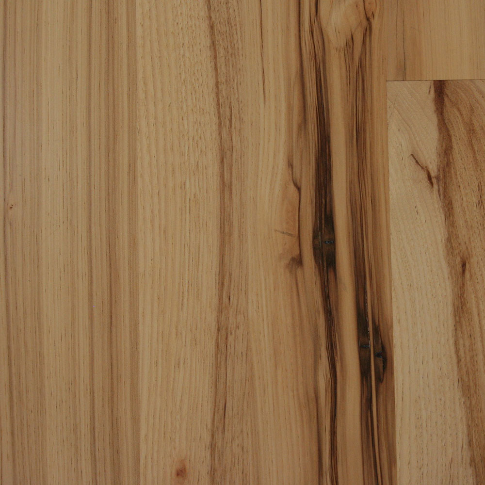 Character Grade Hickory - A beautiful, soft grain, somewhat knotty wood with some white streaking.