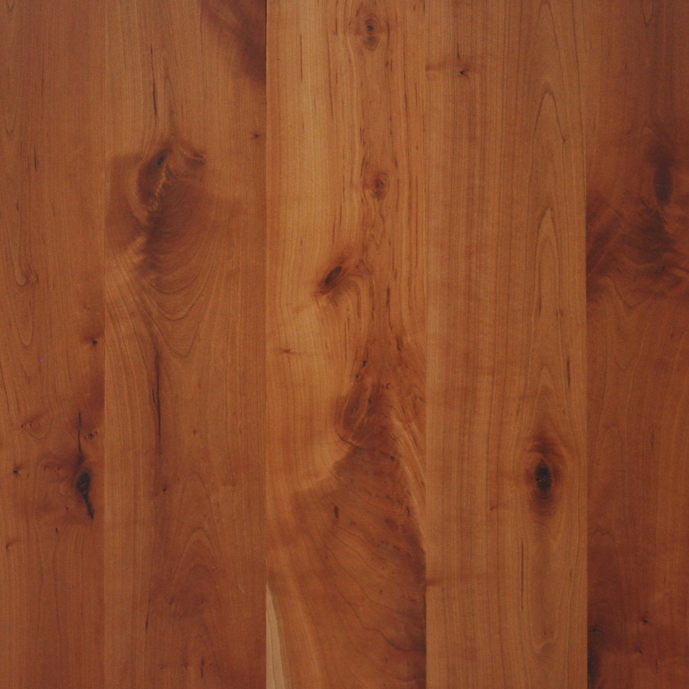 Character Grade Cherry - A beautiful, soft grain, somewhat knotty wood with some white streaking.